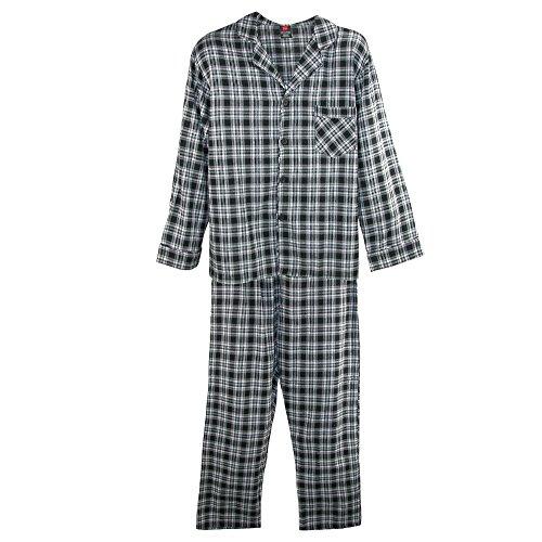 Hanes Men's Cotton Flannel Pajama Set, XXL, Black (Hanes Flannel Plaid Pajamas)