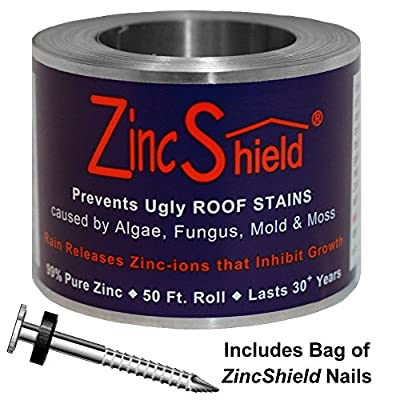 ZINC SHIELD ZincShield Pure Zinc Strip to Avoid Ugly Roof Stains from Moss, Algae, Fungus, and Mildew, 50 Foot Roll, Made in the USA by Great State Products