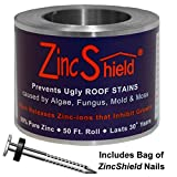 ZincShield Pure Zinc Strip to Avoid Ugly Roof Stains from Moss, Algae, Fungus, and Mildew, 50 Foot Roll (2.5'') - Includes bag of Nails - Made in the USA