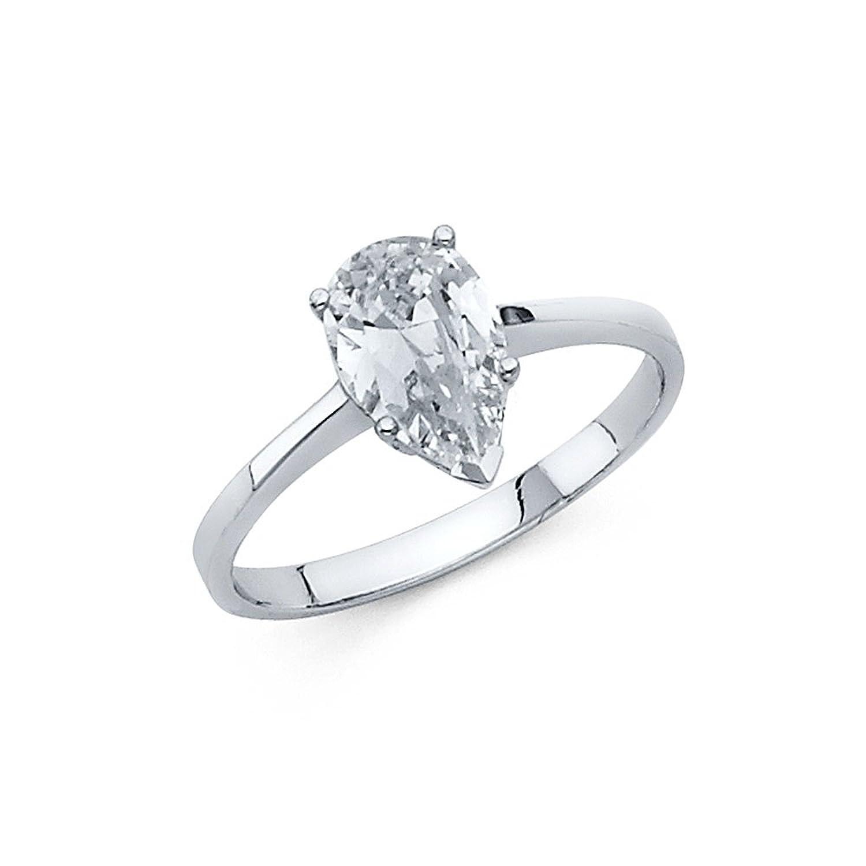 1.00 Carat (ctw) 14k Gold Pear Engagement Ring