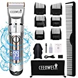 Ceenwes Professional Cordless Hair Clippers Hair trimmer Low Noise Hair Cutting Kit Beard Trimmer IPX7 Waterproof Body Hair Removal Machine with LED Display Hairdressing Cape Travel Bag