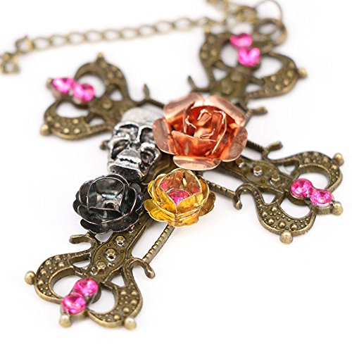 (Hot Fashion Gothic Punk Skull Rose Cross Necklace Pendant Gift Jewelry Chain)