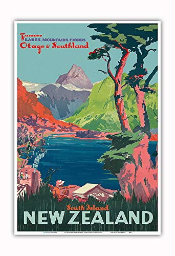 Pacifica Island Art - South Island, New Zealand - Otago & Southland - New Zealand Railways - Vintage Railroad Travel Poster c.1930s - Master Art Print - 13in x 19in ()