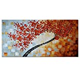 Art Hand Painted Oil Painting On Canvas Texture Palette Knife Tree Paintings Modern Home Decor 3D 24x48inch (Maple Tree 100% Hand Painted Red Abstract Art Prints)