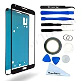 SAMSUNG GALAXY NOTE 3 N9000 N9005 BLACK DISPLAY TOUCHSCREEN REPLACEMENT KIT 12 PIECES INCLUDING 1 REPLACEMENT FRONT GLASS FOR SAMSUNG GALAXY NOTE 3 / 1 PAIR OF TWEEZERS / 1 ROLL OF 2MM ADHESIVE TAPE / 1 TOOL KIT / 1 MICROFIBER CLEANING CLOTH / WIRE
