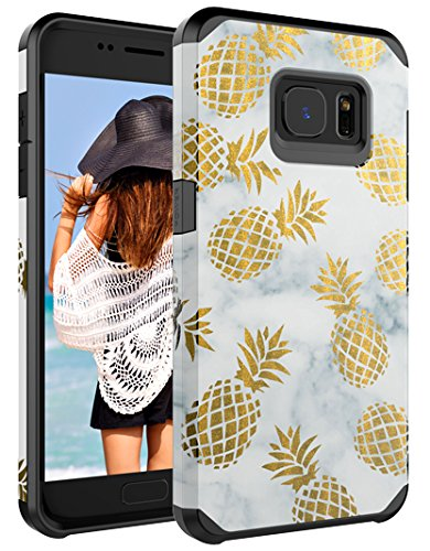 Galaxy S7 Case,CASY MALL Dual Layer Heavy Duty Hybrid PC+TPU Protect Case for Samsung Galaxy S7 2016 Release Pineapple Black