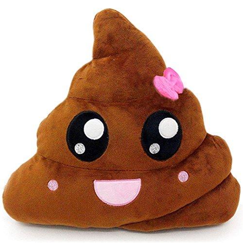 Spiritup Poop Emoji Emoticon Cushion Pillow Cute Decorative Stuffed Plush Toy Doll Gift for Kids Brown Pink]()