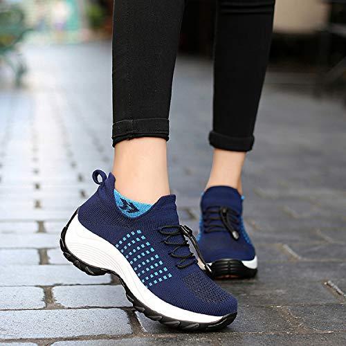 Azul Deportivas 5cm Cuña Calzado Zapatillas Con Cordones Malla Aonegold®  Sneakers De Mujer Plataforma Tacón ABU1fqTH 826d19ec2ef