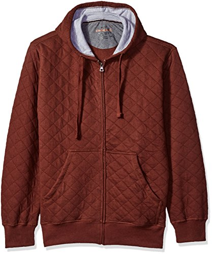 Quilted Hooded Zip Sweatshirt (Weatherproof Vintage Men's Full Zip Quilted Hoodie, Rum Raisin, Large)