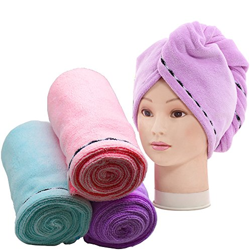 3 Pack Hair Towel Wrap Turban Microfiber Drying Bath Shower Head Towel with Buttons, Quick Magic Dryer, Dry Hair Hat, Wrapped Bath Cap (D001)