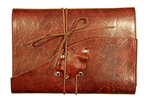 Soul Leather Journal – Handmade Embossed World Map – Refillable Travel Notebook Diary (Red Wine)