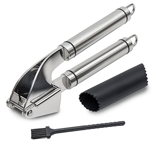 Price comparison product image SUNUNICO Garlic Press,  Professional Stainless Steel Kitchen Set Includes Silicone Peeler,  Cleaning Brush-Best Choice to Crush Garlic and Ginger