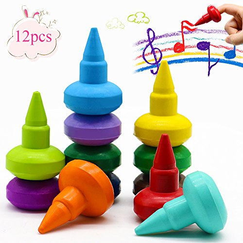 Toddlers Crayons Finger Paint Palm-Grip Crayons Sticks Stackable Toys for Kids,Safety and Non-Toxic-12 Colors