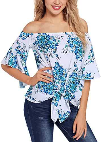 e1689b34a32 Asvivid Womens Floral Print Off The Shoulder Flare Sleeve T-Shirt Tie Knot  Blouses and