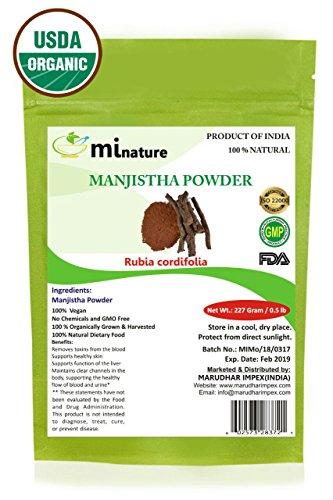 mi nature USDA Certified Organic Manjistha Powder (Rubia CORDIFOLIA)/ Pure Natural Organically Grown Manjistha Powder (227g / (1/2 lb) / 8 Ounces) - Resealable Zip Lock Pouch