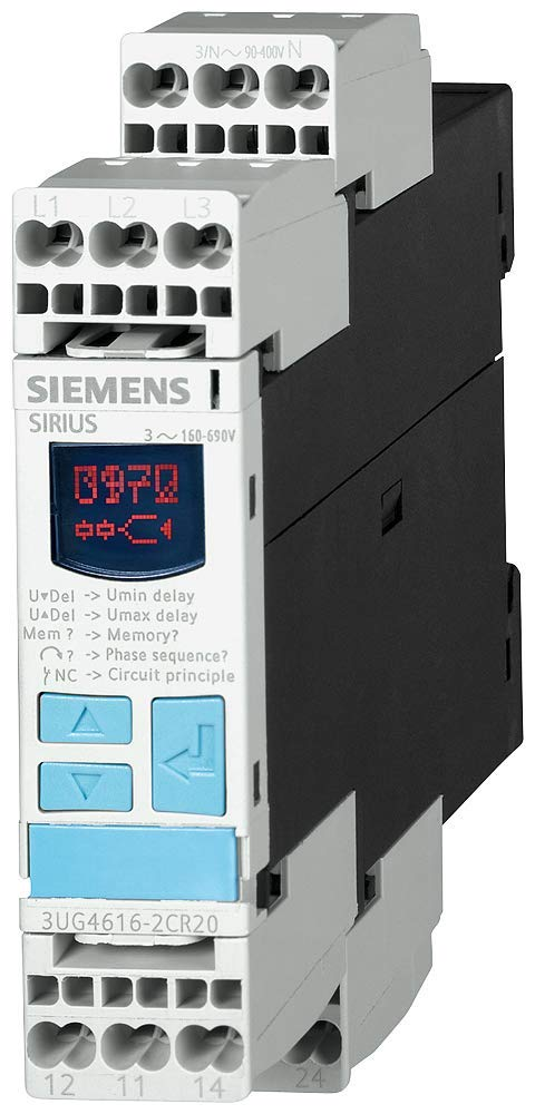 Siemens 3UG4615-2CR20 Monitoring Relay, Three Phase Voltage, Insulation Monitoring, 22.5mm Width, Cage Clamp Terminal, 1CO For Vmin and Vmax Contacts, 0-20s For Vmin and Vmax Delay Time, 160-690 Line Supply Voltage by SIEMENS