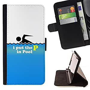BullDog Case - FOR/Apple Iphone 6 PLUS 5.5 / - / I Put The P In The Pool - Funny /- Monedero de cuero de la PU Llevar cubierta de la caja con el ID Credit Card Slots Flip funda de cuer