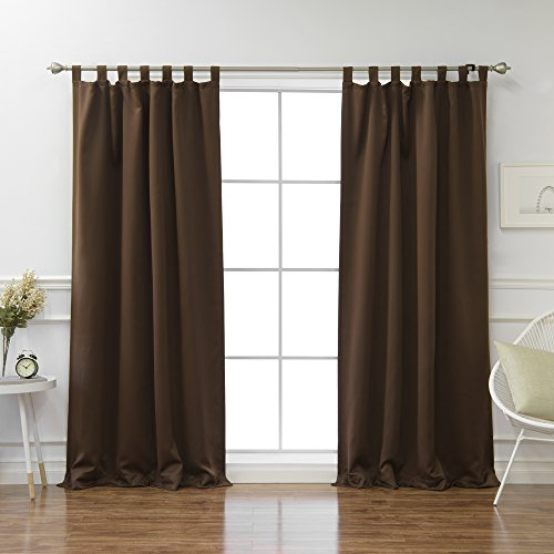 Tab Top Thermal Drapery - Best Home Fashion Tab Top Thermal Insulated Blackout Curtain – Tabtop – Chocolate – 52