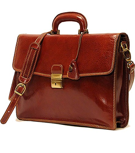 Floto Mens Milano Briefcase in Brown Italian Calf-Skin Leather