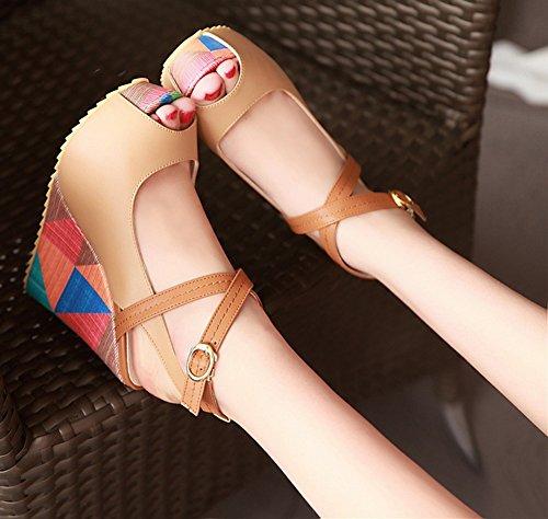 Aisun Cross Sandales Ouvert Femme Multicolore Boucle Abricot Mode Bout Epais UvwUrq