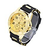 Men's Fashion Hip Hop Bling Iced Out Gold Plated Black Silicon Band Watch WR 8485 GBK