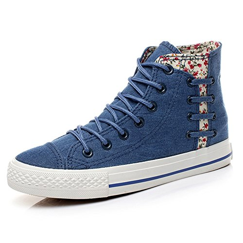 Summerwhisper Womens Trendy Floral Hoge Top Denim Sneakers Lace Up Plimsoll Canvas Schoenen Donkerblauw