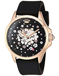 Juicy Couture Women's 'Jetsetter' Quartz Gold and Silicone Casual Watch, Color:Black (Model: 1901571)
