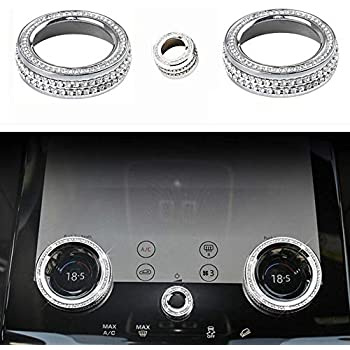 Silver NIUHURU Car Interior Trim Bling Accessories Rhinestone Decals Electronic handbrake and Terrain Adaptation System Button Cover Sticker for Land Rover Range Rover Evoque Car Styling
