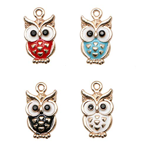 JETEHO 20 Pack 5 Colors Enamel Owl Charms Alloy Pendants for Jewelry Crafts Making Holiday Home Decoration(20mmx12mm, 2mm)
