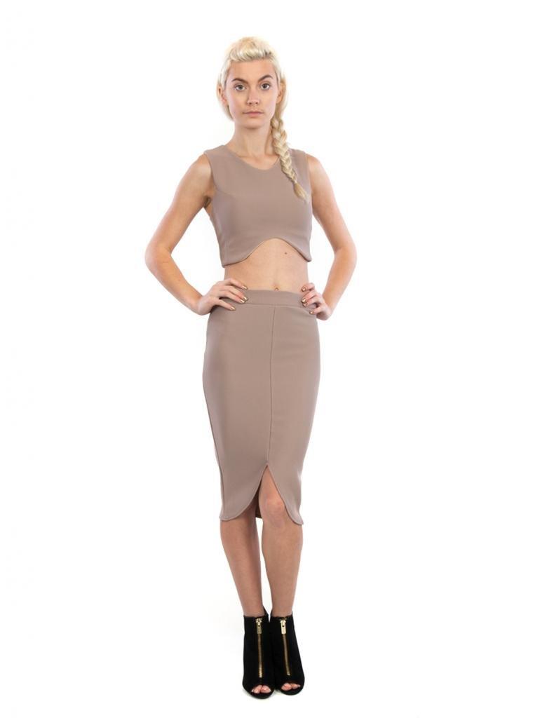 Goodtime Womens Textured Crop Top Pencil Skirt Set L Khaki
