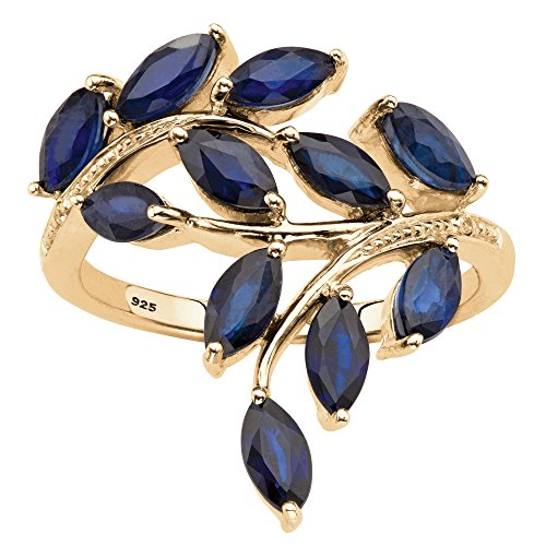 Frost Accent Blue (Genuine Marquise-Cut Midnight Blue Sapphire Diamond Accent 18k Gold over .925 Silver Ring)