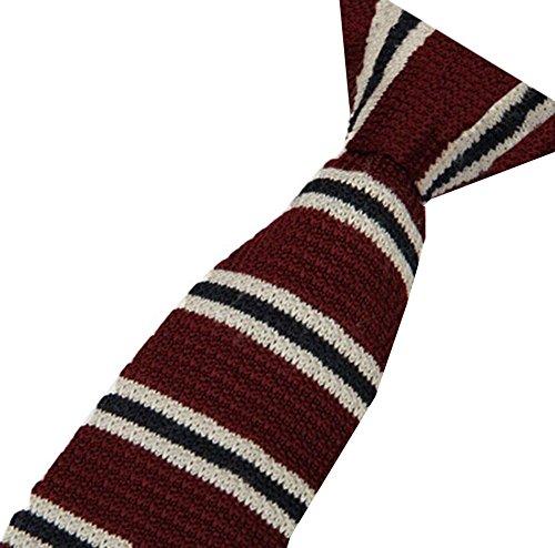 Cravatemince pour homme Rayure Marron Noire bout carré de 6cm