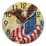 Dozili Vintage Style Bald Eagle with American Flag Print Round Wall Clock Arabic Numerals Design Non Ticking Wall Clock Large for Bedrooms,Living Room,Bathroom