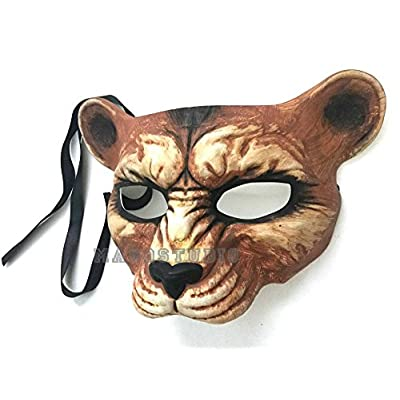 Halloween Masquerade Leopard Mask Animal Cosplay Haunted House Costume Party Wear or Deco (Natural): Toys & Games