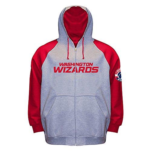 - NBA Washington Wizards Long Sleeve Zip Raglan Fleece Jacket, Gray Heather/Red, X-Large/Tall