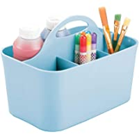 mDesign Plastic Portable Craft Storage Organizer Caddy Tote, Divided Basket Bin with Handle for Craft, Sewing, Art…