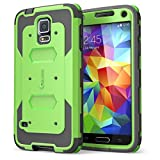 i-Blason Case Designed for Galaxy S5, Armorbox Dual Layer Hybrid Full-body Protective Case with Front Cover and Built-in Screen Protector / Impact Resistant Bumpers Not for Galaxy s6 Case (Green)