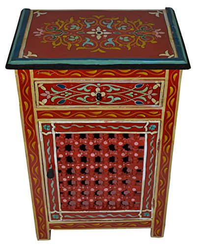 Red Painted Wood Armoire With Single Door by Moroccan Furniture