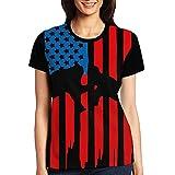 Wrestling American Flag Women's Short Sleeve Tops Tee Crew Neck T-Shirt XXL