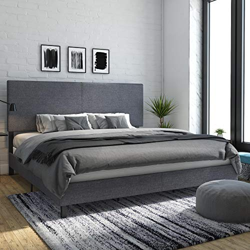 DHP 4156449 Janford Upholstered Bed, King, Gray