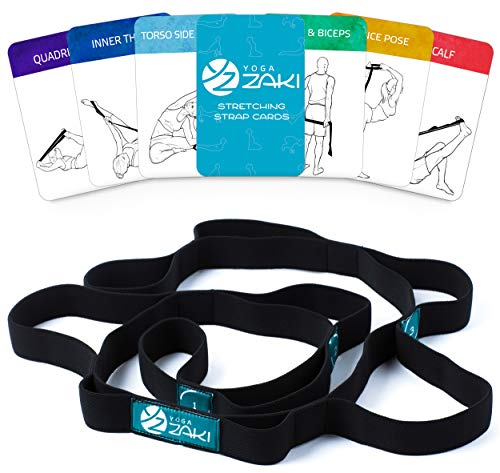Yoga Zaki Stretching Strap with Loops | Set of Exercise Cards | Carrying Bag