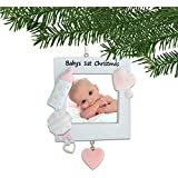 Personalized Baby's 1st Christmas Pink Photo Frame Ornament for Tree 2018 - Heart Bottle Rattle Girl's First New Mom Shower Picture Display Milestone Memory Grand-Daughter Free Customization by Elves