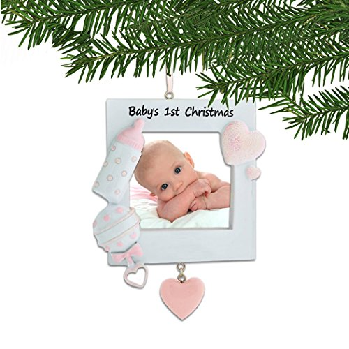 First Christmas Heart Ornament - Personalized Baby's 1st Christmas Pink Photo Frame Ornament for Tree 2018 - Heart Bottle Rattle Girl's First New Mom Shower Picture Display Milestone Memory Grand-Daughter Free Customization by Elves