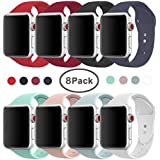 AdMaster Compatible for Apple Watch Band 38mm, Soft Silicone Replacement Wristband Classic Sport Strap Compatible for iWatch Apple Watch Series1, Series 2, Series 3, Edition, Nike+, M/L Size 8 Pack
