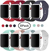 AdMaster Compatible for Apple Watch Band 42mm, Soft Silicone Replacement Wristband Classic Sport Strap Compatible for iWatch Apple Watch Series1, Series 2, Series 3, Edition, Nike+, S/M Size 8 Pack