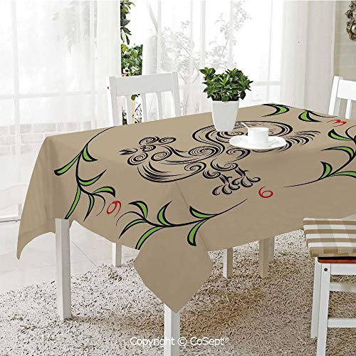 - SCOXIXI Spillproof Tablecloth,Rooster and Floral Art Decorative Clock Time Swirls Leaves Farm Animal Theme Decoration,Table Cloth for Kitchen Dinning Tabletop Decoration(55.11