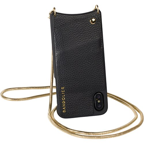 Bandolier [Belinda] Phone Case for iPhone X - Gold Tone Hardware Cross-Body Removable Strap & Authentic Leather Wallet & Grip Plastic Cover. Slim 2 Credit Card Slot & Secure Closure. ()