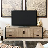 New 70 Inch Modern Industrial TV Stand- Ash Grey Reclaimed Look with Black Trim