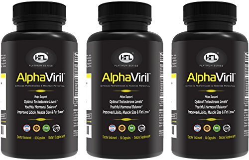 AlphaViril 3 Bottle Pack   Natural Testosterone Booster, Increases Libido, Sex Drive, Strength, Energy, Builds Muscle   for Men & Women   Made in USA   Tongkat Ali Extract, Horny Goat Weed.