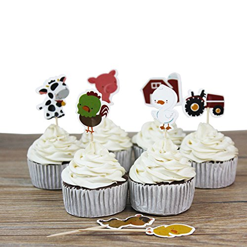Farm Animal Cupcake Toppers, Cake Decorations, Appetizer Picks for Kids Birthday Party, Themed Party (72 pack) by NADARDA (Image #5)